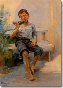 Γεραλής Λουκάς-Παιδί που Τρώει καρπούζι, περ. 1950
