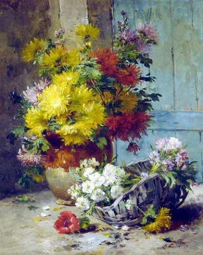 Eugene Henri Cauchois- Still Life of Summer Flowers