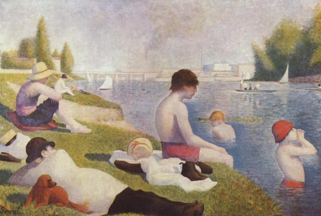 Geogres Seurat, Une baignade à Asnières (Bathers at Asnieres), 1883-84