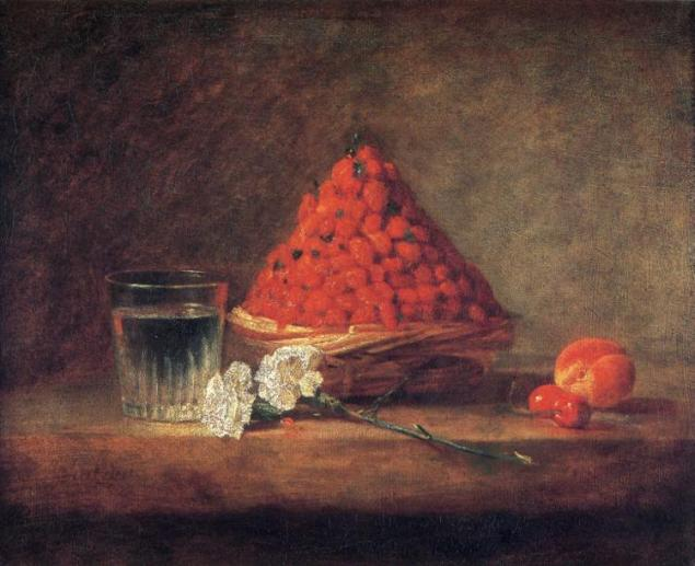 Jean Baptiste Simeon, Chardin Basket With Wild Strawberries, 1761